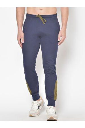 American-Elm Men Navy Blue Solid Slim-Fit Joggers