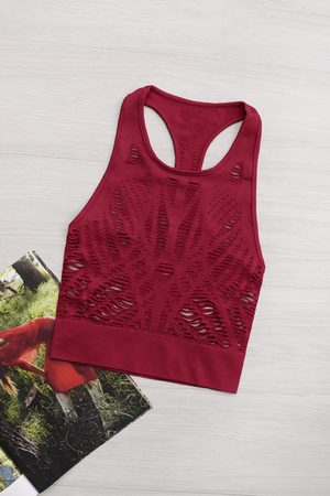 YOINS Active Cut Out Quick Drying Elastic Band Crop Top in