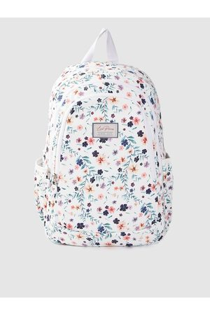 Lino Perros Women White & Green Floral Print 13 Inch Laptop Backpack