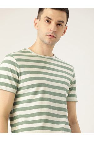 Ether Men Short Sleeve - Men Olive Green & Off-White Striped Round Neck T-shirt