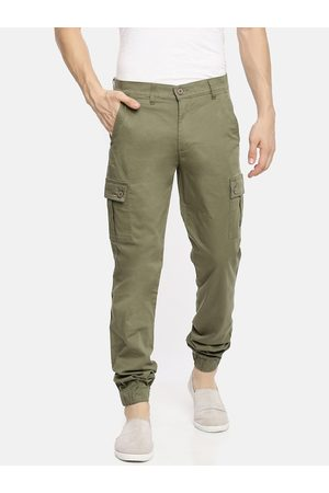 The Indian Garage Co Men Olive Green Slim Fit Solid Joggers