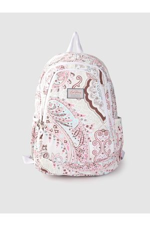 Lino Perros Women White & Pink Paisley Print 13 Inch Laptop Backpack