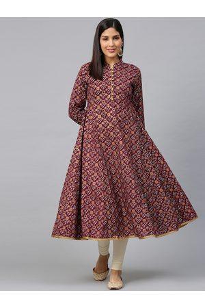Bhama Couture Women Magenta & Golden Bandhani Printed Anarkali Kurta