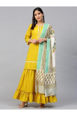 Bhama Couture Women Mustard Yellow Solid Kurta with Sharara & Dupatta