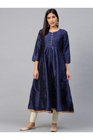 Bhama Couture Women Navy Blue & Golden Woven Design Anarkali Kurta