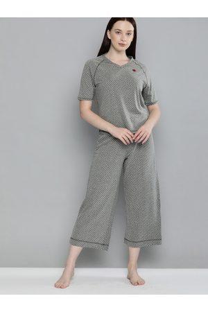 Chemistry Women Grey Melange & White Polka Dots Printed Night suit