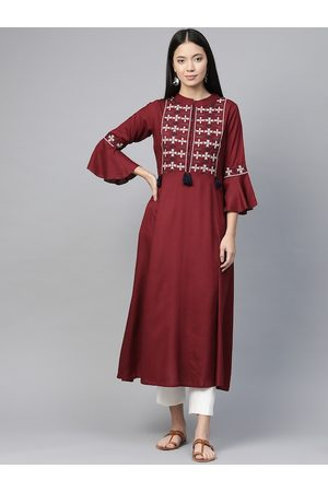 Pluss Women Maroon & White Embroidered Yoke Design A-Line Kurta