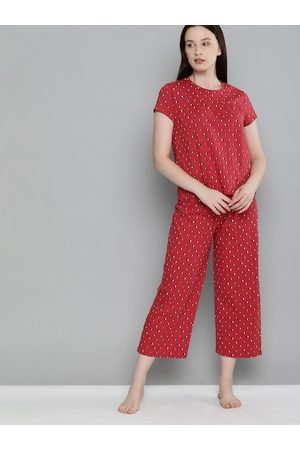 Chemistry Women Red & Off-White Geometric Printed Night suit