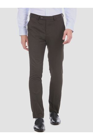 Arrow Men Brown Regular Fit Solid Formal Trousers