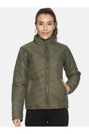 Campus Women Olive Green Solid Windcheater Padded Jacket