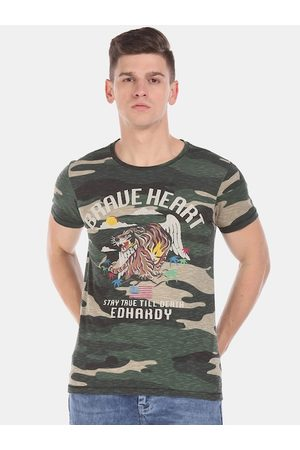 ED HARDY Men Green Camouflage Printed Round Neck T-shirt