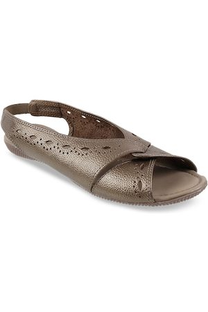Metro Women Gold-Toned Textured Leather Open Toe Flats