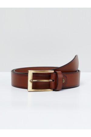 Max Collection Men Belts - Men Brown Solid Leather Belt