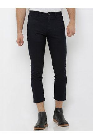 Rex Straut Men Navy Blue Slim Fit Solid Regular Trousers