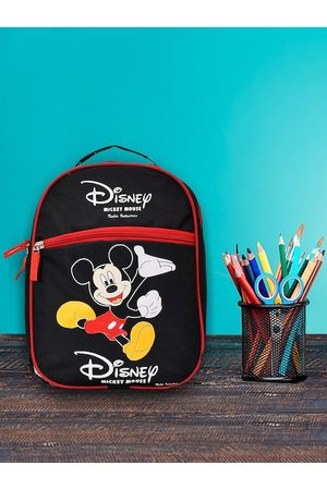 Kuber Industries Unisex Kids Black & Red Mickey Mouse Graphic Backpack
