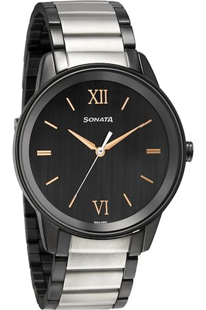 Sonata Men Black Analogue Watch 7133KM03
