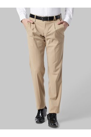 Park Avenue Men Khaki Slim Fit Solid Formal Trousers