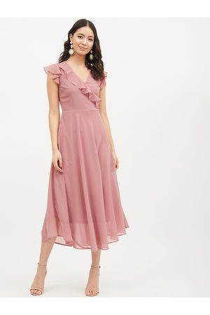 Harpa Women Pink Solid Fit and Flare Dress