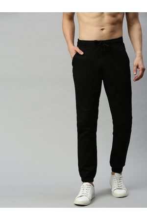 HERE&NOW Men Black Regular Fit Solid Joggers