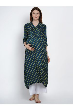 Mine4Nine Women Navy Blue & Green Printed A-Line Maternity & Nursing Kurta