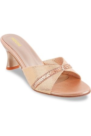 All Things Mochi Women Gold-Toned Textured Heels