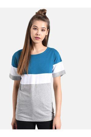 KOTTY Women Blue & Grey Colourblocked Round Neck T-shirt