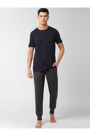 Peter England Men Navy Blue & Grey T-Shirt & Joggers Set