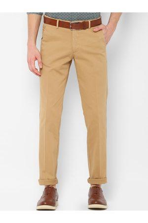 Simon Carter Men Khaki Slim Fit Solid Regular Trousers
