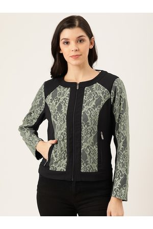 Quiero Women Black & Green Floral Self-Design Tailored Jacket