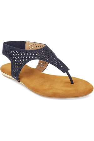 All Things Mochi Women Navy Blue Solid T-Strap Flats