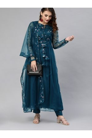 Inddus Women Teal Blue Embroidered High Slit Kurta with Trousers & Dupatta