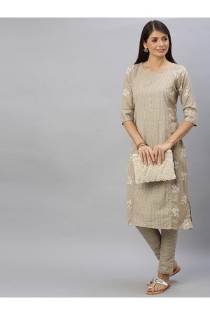 ALENA Women Beige & Off white Printed Kurta with Trousers