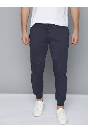 Mast & Harbour Men Navy Blue Straight-Fit Solid Joggers