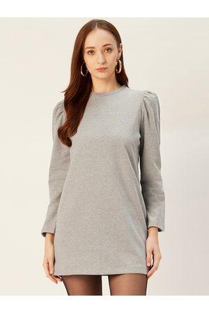 Sera Women Grey Melange Solid Sweatshirt