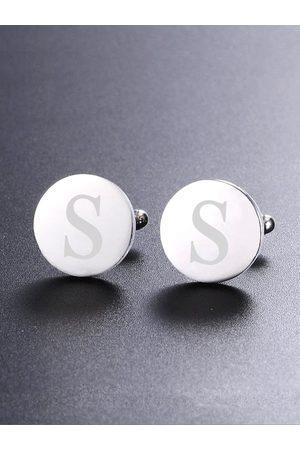 Yellow Chimes Jewellery Silver-Toned & Rhodium-Plated Round Cufflinks