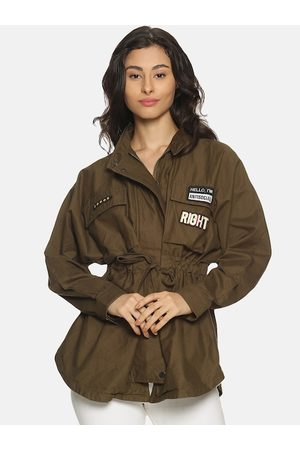 Campus Women Olive Green Solid Windcheater Tailored Jacket
