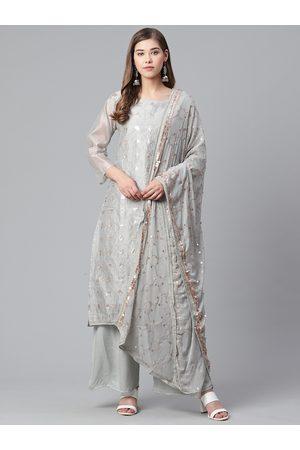 Ishin Women Grey & Golden Embroidered Kurta with Palazzos & Dupatta