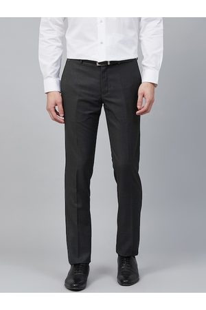 Blackberrys Men Charcoal Grey Skinny Fit Textured Formal Trousers