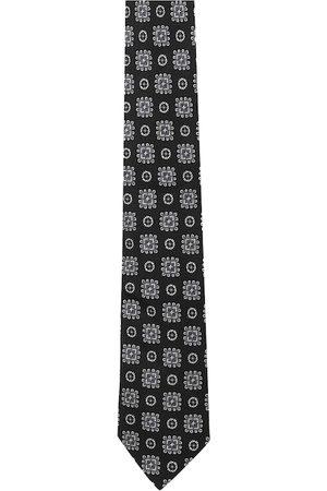 Peter England Black Woven Design Broad Tie