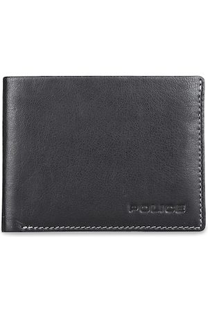 Police Men Black Solid Two Fold Leather Wallet