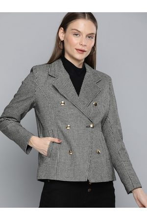 Chemistry Women Black & White Checked Regular Fit Single-Breasted Casual Blazer