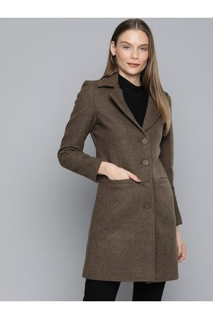 Chemistry Women Coffee Brown Solid Longline Trench Coat