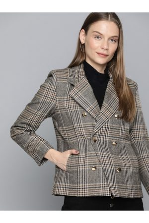 Chemistry Women Beige & Black Checked Regular Fit Single-Breasted Casual Blazer