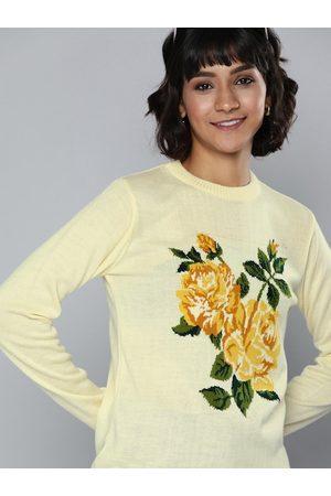 Chemistry Women Cream-Coloured Self Design Pullover Sweater