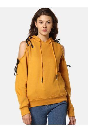 Campus Women Yellow Solid Hooded Sweatshirt
