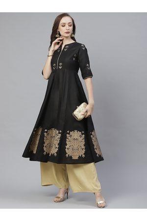 Bhama Couture Women Black & Golden Ethnic Block Printed Anarkali Kurta