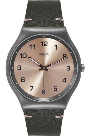 Swatch Unisex Gold-Toned Trovalized Swiss Analogue Watch SS07M101