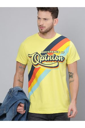 Difference of Opinion Men Yellow Printed V-Neck T-shirt