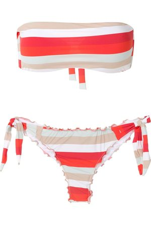 AMIR SLAMA Frufru striped bandeau bikini set