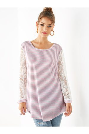 YOINS Lace Stripe Round Neck Long Sleeves Tee